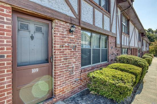 Bright 1st floor unit with private entrance. 1 bedroom with wall-to-wall carpet and walk-in closet. Bedroom has access to patio via glass sliding doors. Dining area, living room with a lot of sunlight. Large storage closet/pantry. Enjoy the community tennis court and swimming pool in this private, quiet community. There is an on-site laundromat. Common charges include: taxes, heat, gas, water, snow removal, lawn maint., and parking.