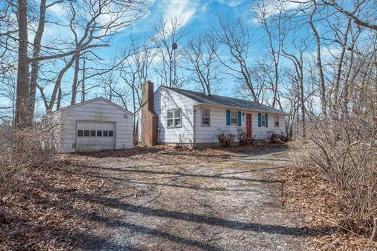 Welcome Back to Nature in Your Cabin on the Lake/Cabin in the Woods.  Solid Ranch Style Waterfront Home on Over 1 Acre of Land. Waterview Living Room with Fireplace. 2 Bedrooms. Full Basement and Detached Garage. 240+ Feet of Water Frontage. Bay Beach Nearby.