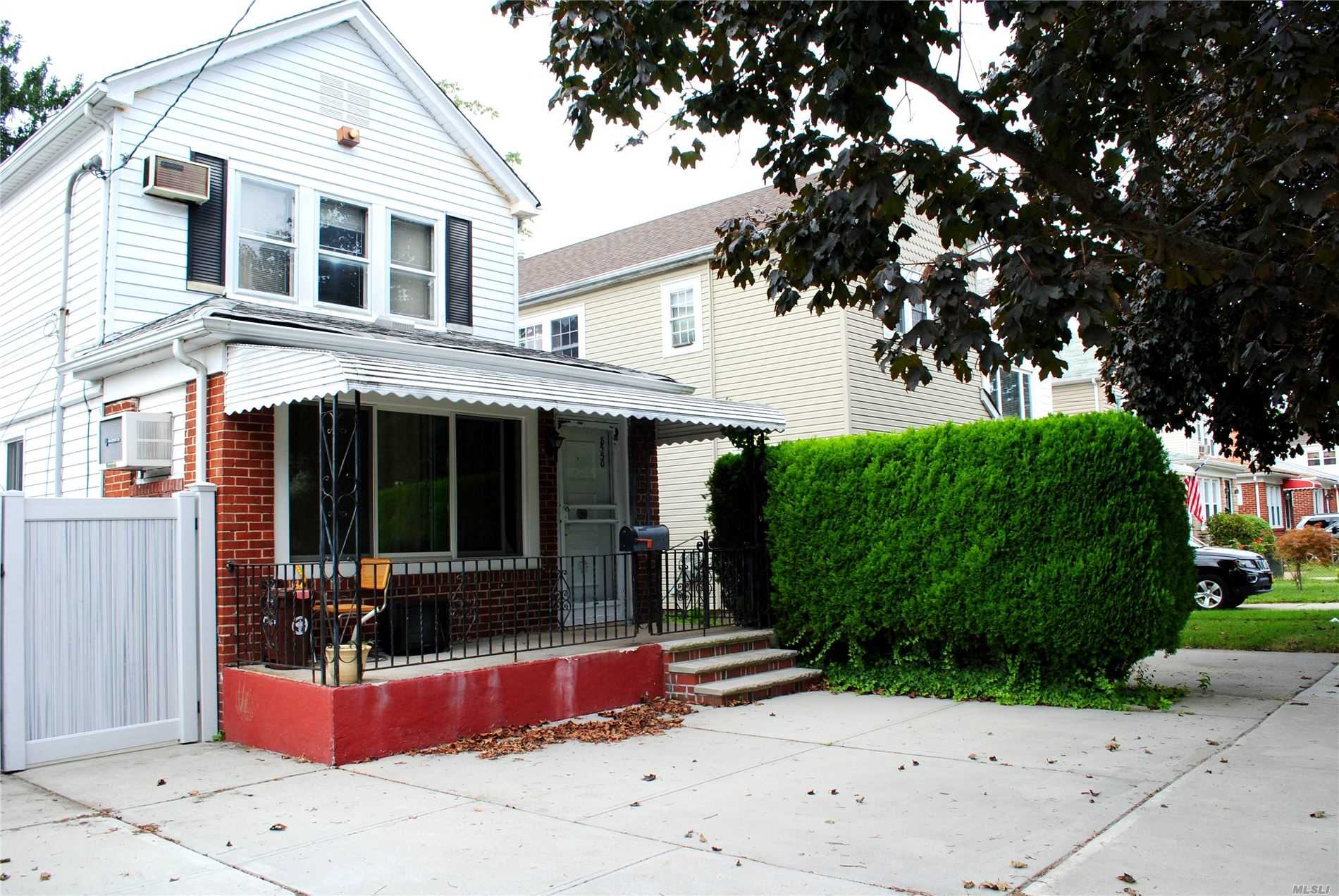 Great mid block house with tons of potential in sd 26.The house is located minutes away from major highways, walk to local and express buses, shops and restaurants & 5 min walk away from PS 191!First floor has new windows, an open layout with the living-room leading to the kitchen and an exit to the private large backyard.The 2nd floor has 3 brs and a full bath. Updated 150amp electric&detached garage.Selling as is. Opportunity to renovate according to your taste and to make this space your own.