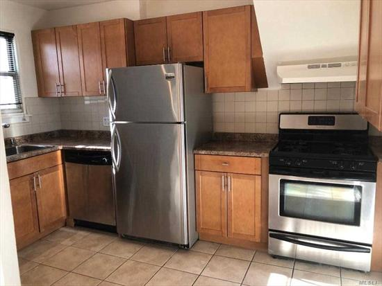 Two bedroom/One bathroom garden apartment on first floor. The kitchen has shaker wood cabinets. Hardwood floors throughout. The apartment is south facing, opposite private homes with good parking.