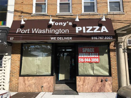 Prime Main Street Location! Approximately 1350sf of Space Currently Configured For Use as a Pizzaria. Tenant Pays Pro Rata Share of Increase in Real Estate Taxes From Base Year.