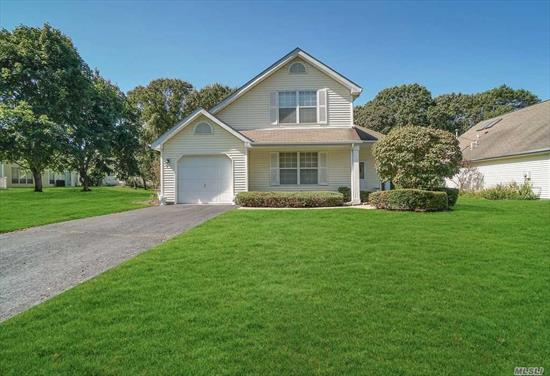 Beautiful home at Strathmore on the Green in Middle Island NY.  Private gated community with 24HR Security. Cul-de-sac. Property has 2brd with loft, 1 bath, Lv, /Dr Laundry room, EIK with walk out patio. Attach garage. Vaulted ceiling. All stainless steel appliances. New washer and dryer. Gas heat/ CAC. Community pool,  tennis courts. includes Lawn care, irrigation, water, garbage removal, sewer, 24hour security..Close to Parkways.