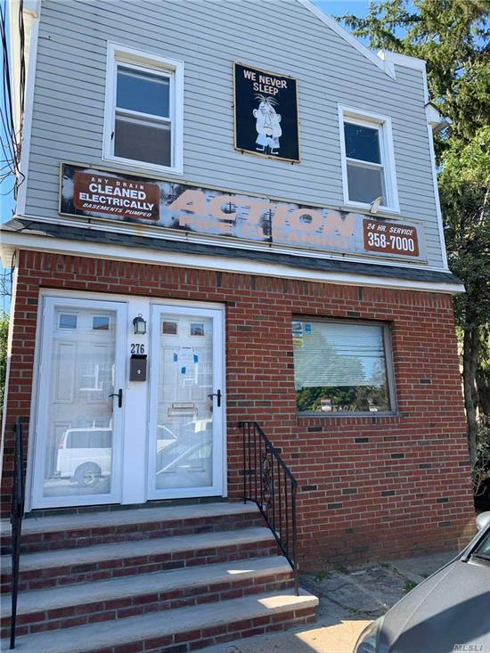 Mix use building includes Front office space with 2 apartments. First floor1 bedrm occupied currently collecting under rental market value. 2nd fl includes a vacant 2 bedrm apartment. 3 full baths and full unfinished basement.