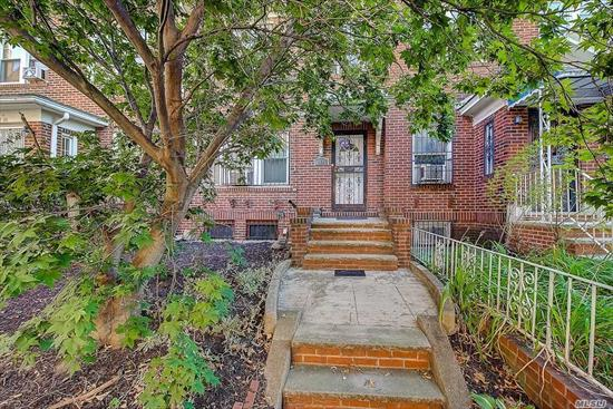 All brick single family home with finished basement and private parking in highly sought after Jackson Heights, Queens. House sits on a 20 x 100 lot and offers approx 1, 280 sq ft of living space (not incl bsmt). Full bth on every floor. 2nd floor features 3 bedrms, upgraded bath, hardwood floors. 1st floor features large open concept living room with high ceilings, formal dining room, renovated kitchen, renovated bath, hardwood floors, access to backyard and much more. Basement is fully finished