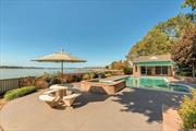 Rare opportunity to own spectacular waterfront property on 1.58 acres boasting unobstructed water views and breathtaking sunsets. This sprawling expanded ranch offers 5 bedrooms, 3 full and 2 half baths, spacious entertaining spaces and easy access to your waterfront pool with cabana and private sandy beach. Experience peace, tranquility and endless opportunities in this wonderful year-round retreat in the coveted community of Plandome Manor.