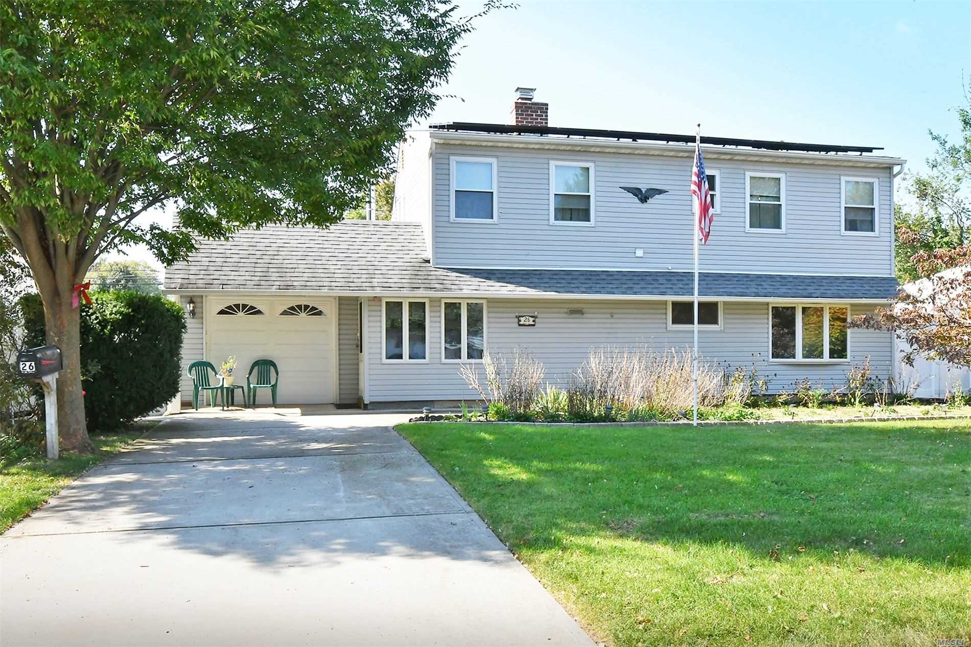 Extra Low Taxes! - Efficient & Versatile Dormered Cape in Island Trees School District. Large EIK & Living Room/Den Surround a Dual-Side Wood Burning Fireplace. 2 Bedrooms, Full Bath & 1.5 Car Garage Complete the First Floor. 2nd Floor Boasts 2 Large Bedrooms w/Ample Closet Space & Full Bath. Flat Fenced in Backyard has Covered Patio & Entry to Garage. Updated Roof & Siding, 5 Year New Windows, Mini Split CAC, 150 Amp Elec, IGS, Solar Panels are owned less than $50 electric bill p/month!