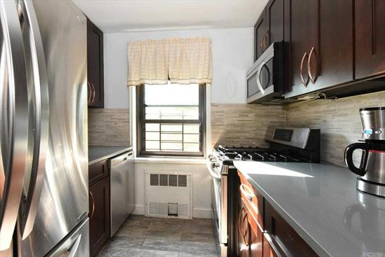 Renovated 1 bedroom apartment with hardwood floors, windowed kitchen and bathroom in the prestigious Eden Rock building. This pet friendly building features a doorman, laundry room, and a 24 hour gym. Conveniently located within minutes to buses, transportation, shopping, Briarwood Station, and the E and F trains. Maintenance $811.35
