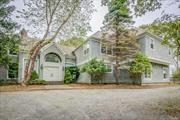 A beautiful spacious home set on approx 1.3 acres of tranquil private wooded property. Boasts inground pool with pool house and hot tub oversized terrace with amazing views. Sun drenched rooms with open flow. Short path to private perch overlooking Gardners Bay Minutes to beaches, shopping, golf ...simply ...the Hamptons
