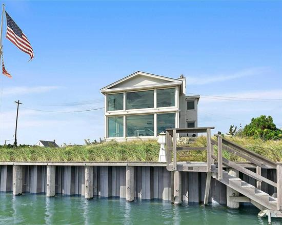 Views! Views! Views! Waterfront, state of the art home situated on one of the most desirable streets in the Quogue Estate Section. Floor to ceiling panoramic vistas of the Quogue Canal and Ogden Pond. Open concept floor plan featuring a dining/living/entertainment space with elevator. Expansive outdoor entertainment areas and deep water bulk headed dock. Bonus guest house includes 2 bedrooms, bath and kitchen. Sun sensitive shades, remote controlled skylights/lights, Quogue's low taxes.