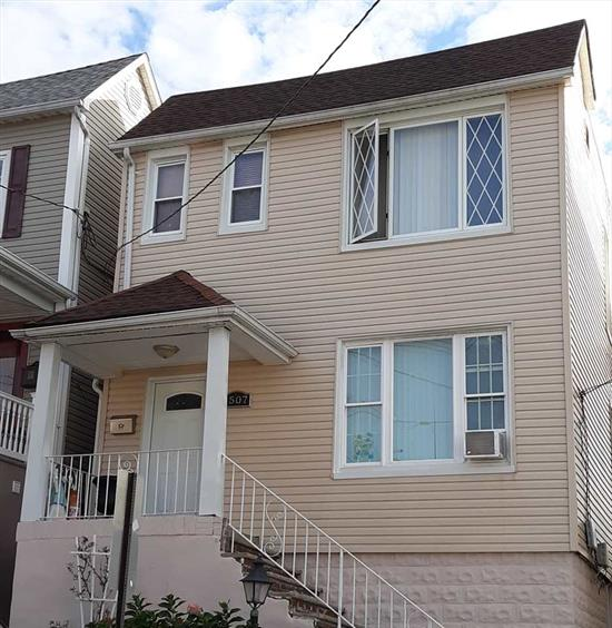 This 2 Family Home in North Bergen offers 4 bedrooms & 3 Full Bathrooms. Roof is 5 years old & Water Heater is 3 years old. 1 Bonus room in each room / could be a possible 3rd bedroom. The basement is Full/Finished high ceilings & Full Bathroom. Close to a variety of retail stores & restaurants. Close to mayor highways.