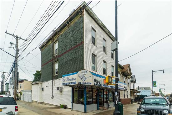 Great Investor opportunity. Fully rented high traffic corner location (50 x 100) with street level retail, 4 apartments, and 4 garages. Good income with excellent upside potential to increase rent, develop and/or expand. Located in opportunity zone.