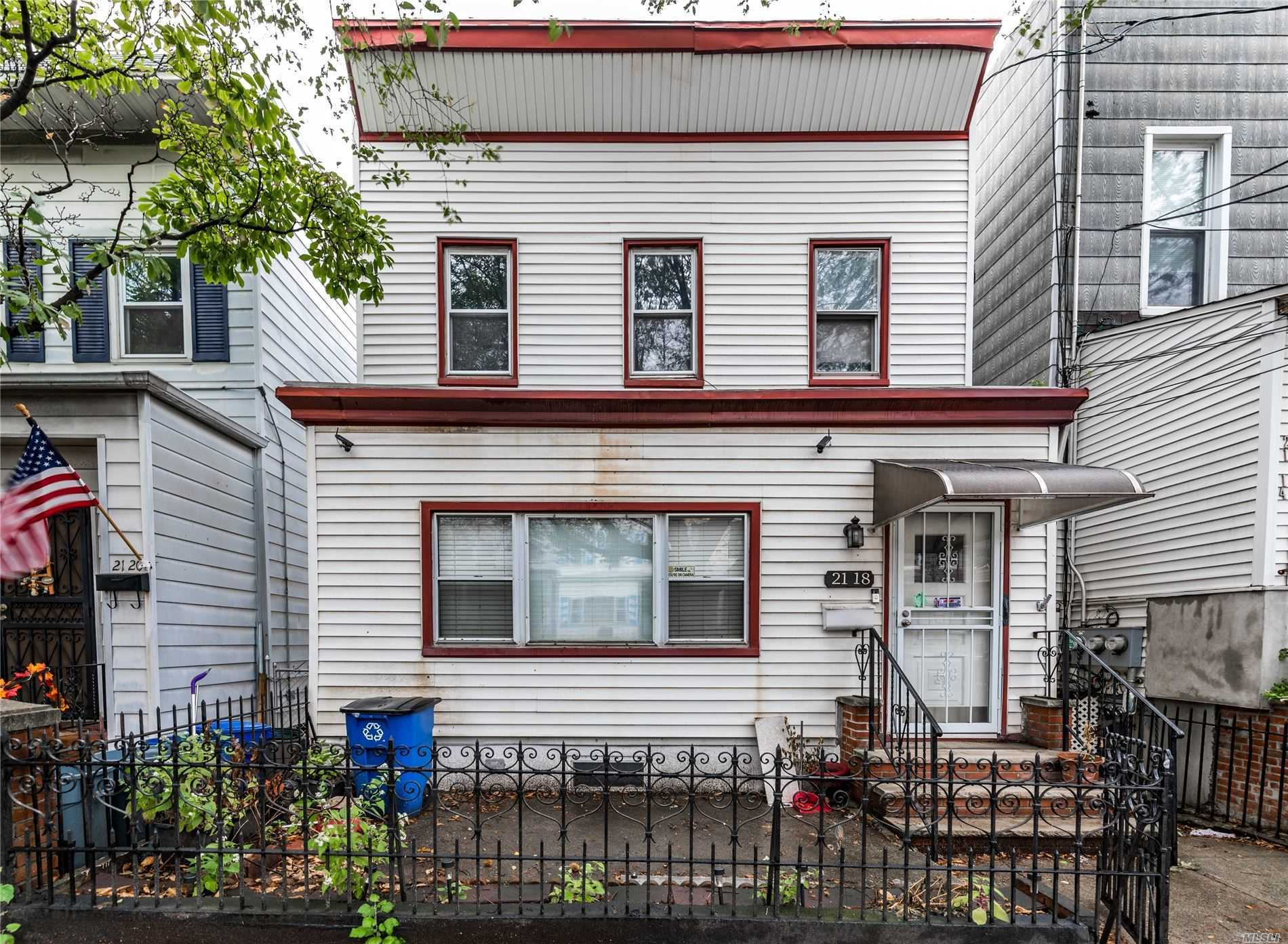 A two-stories, two-families, detached, frame house. Excellent location with a great potential. It is a 1st Fl: 2 Br, 1 bath, Living rm DUPLEX linked to the basement: 1 BR, 1 Ba. & EIK 2nd Fl: 2-Bedroom, Living room, Dinning room, EIKitch and a full bathroom. Located in great and much desirable Astoria, accessible to everything one could possibly need including major highways and great parks.
