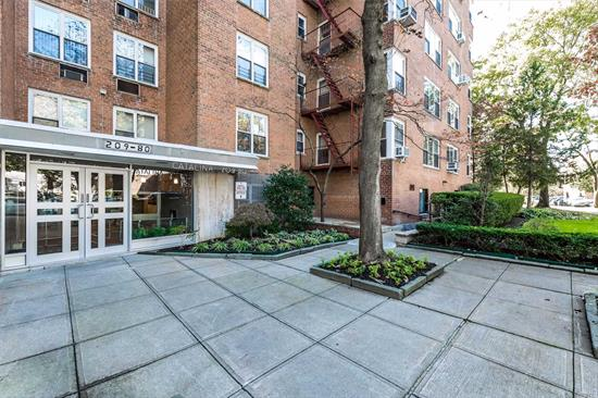 Spacious Bay Terrace 3 bedroom, 1 bathroom co-op in the Section VIII co-op. Entry foyer, living room, separate dining area, large eat-in-kitchen, 3 spacious bedrooms and lots of closet space. High floor with lots of sunlight. The co-op offers parking, gated playground, live-in super, utilities included in the monthly maintenance. Parking available. Close to express bus to NYC, bus to Main Street (7 Train) & Bay Terrace Shopping Center. High floor. Beautiful fall/winter bridge & water views.