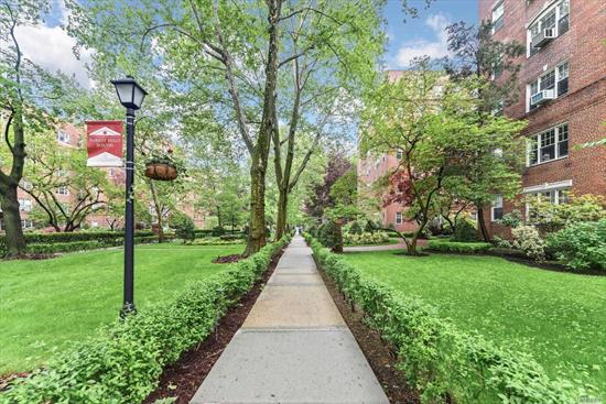 Situated on several acres of lush gardens, a spacious prewar 1 bedroom converted to Junior4 is now available at the Beaverbrook in the Forest Hills South. Featuring an updated kitchen, 9ft ceilings, arched doorways & windows in EVERY room. This large one bedroom coop unit has room for an EXTRA room! The converted space can be used as a junior bedroom or office. Amenities: fountain English gardens w private sitting area, doorman, in-door garage WL, storage, laundry, bike room, & gym. PS196 Zoned