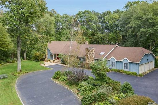 Spacious Frm Rnch in Syosset SD, situated on ovr 2 prvte acrs. Entr this well maintd sprawlng 5500sqft hme tht feat multpl dens and fam rms, a mass fin bsmnt w multi sldrs to LL Patio. Vaulted clngs, ovrszed EIK w Cherrywood cabs & sun drenchd w 10 skylights thruout, ovrlking pristine bckyrd w multi decks & IG pool w Patio. This home is a tru Entmt delight w multi-generational potentialSep Guest wng on LL.