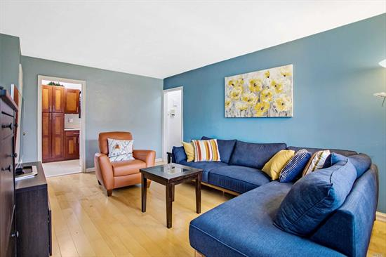 Nicely renovated 2 bedrm 1 bath home w gorgeous kitchn, & newer bath, both w windws facing north. Living rm faces south. Large master bed w space for office, & good size 2nd bedrm. Located in the depth of large courtyrd on 68th Dr. Elect inc. Co-op allows W/D & dishwshrs (15/mo ea), pets, and immediate rentals. AC=30 each. Pets permittd. Wait list for parkng space, garage & storage. Laundry avail. 24hr security. Close to bus to Forest Hills (10 min), express to city, & buses to Flushing.