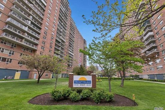 This 2 BR, 1 Bath Co-Op on the 16th Floor w/Views of Atlantic Ocean is in the Trump Village Complex Close to Coney Island, Aquarium & Brighton Beach. Monthly Maintenance Fees of $822.41/mon Include Electric, Heat & Taxes with $25 Extra/Month for Cat or Dog. Amenities Include Keyless Entry, 24 Hour Security, Laundry Facilities in Bldg, Rec Room, Playground, Playroom, Updated Windows. Go to www.trump4west.com for More Info.