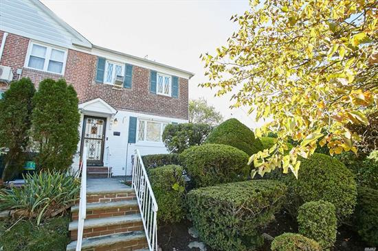 Welcome 176- 12 77th Rd, a charming home in Fresh Meadows, fronted by a patio and surrounded by beautiful landscaping. First floor features an open floor concept with large living room, dining room, half bathroom, new hardwood flooring and eat-in kitchen with stunning ceiling molding.This newly-improved space features newly remodeled cabinetry, counters and appliances and a gorgeous fireplace.Second floor has 3 large bedrooms and a full bath.For virtual tour click on video to view this nice home