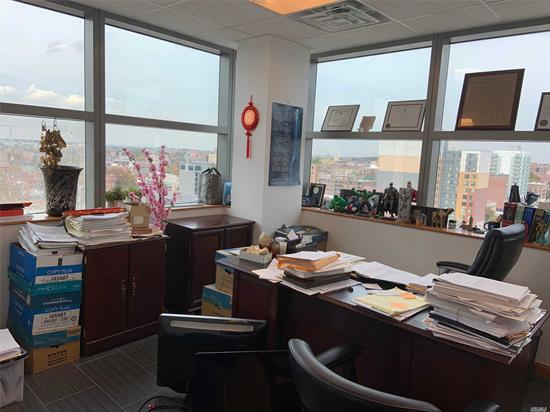 The Best Commercial Building in Downtown Flushing, NY. Close to Subway, Buses, LIRR ....Corner Unit with many windows , very Bright Unit ! 2-3 Big Office Room , one big Conference Room, Front Desk and big Waiting Area ! ! Ready to move in ! The Rental price is including Common Charge and Real Estate Tax !