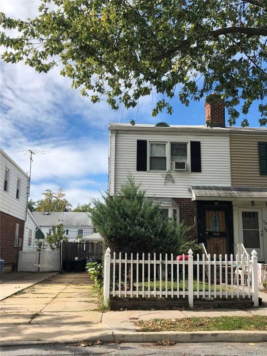 2-story, Semi-1-family, Oversized 1st floor huge EIK/dining area, rear door to yard and detached garage, wide tree lined street, 1-block walk to Utopia Pkwy and park