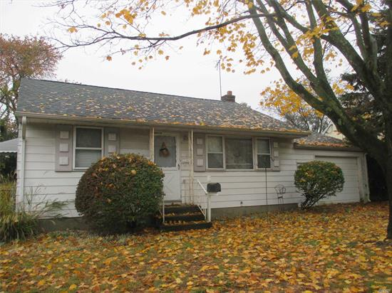 Many possibilities for home user or investor.  Serene setting on a quiet residential street, gas in street. Living room, eat in kitchen, 2 bedrooms 1 full bath.  Full, unfinished basement, attached 1 car garage. Lot size: 60 x 100 / Taxes: $9,427 / Fuel: Oil / Heat: Hot Air