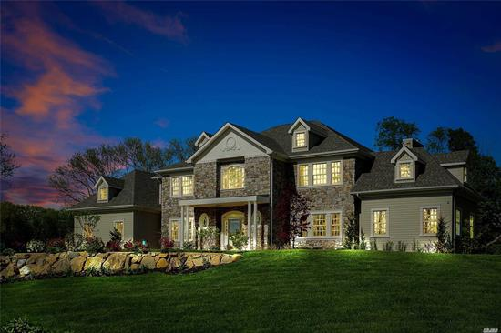 Unparalleled new construction with the epitome of design & elegance in the 7400 sq ft colonial majestically set in a cul de sac location. Boasting a 19 ft. Entry, chef's gourmet kitchen with commercial appliances, grand formal living room and dining room, library, fabulous family room, guest suite/bath on main. 2nd floor boasts wonderful master suite/spa bath, 4 additional bedrooms and 4 designer baths. Extensive mill work throughout, basement with outside entrance, 3 car garage, serene 2 acres.