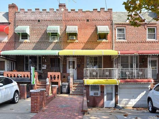 Classic brick townhouse w/2 bedrooms, 2 full baths, private driveway & full finished basement.This two-story home is located in the Flatlands & the 1st floor features a large living room, separate dining area, renovated kitchen, tiled front porch & access to the rear patio & private backyard. The 2nd floor has a large MBR & 2nd bedroom & a renovated full bathroom.The basement is fully finished w/its own entrance. Conveniently located a few blocks to Flatbush Ave., buses B46, B9, B2, B100, B41, and Q35