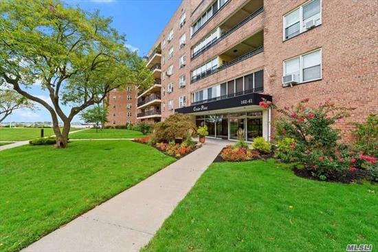 BEECHHURST. Beautiful 1200 square ft. co-op apartment with terrace overlooking the Throgs Neck Bridge and water view. Heat, hot water, and taxes are included in the maintenance fees. No Flip Tax. Located on the second floor, Elevator Bldg. Swimming pool, 24 hour security. Express bus to Manhattan in front of the building. Walk to banks, shopping, and dining. Storage and monthly parking available. Private dock for fishing, and community room for private events and tranquil gardens.