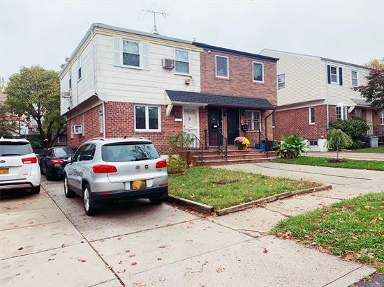 Excellent Location in the heart of Flushing. Charming 3 Bedrooms, 1.5 Bath, Finished basement. Private Driveway. Close to public schools, Queens College, restaurants, Dunkin Donuts, I-495/I-678 Highways, Kissena park. One block to bus station. Buses to Flushing Q25, Q34, Q17, School District #25. Easy street parking. With permits can be converted to 2 family. New hot water boiler and heater.