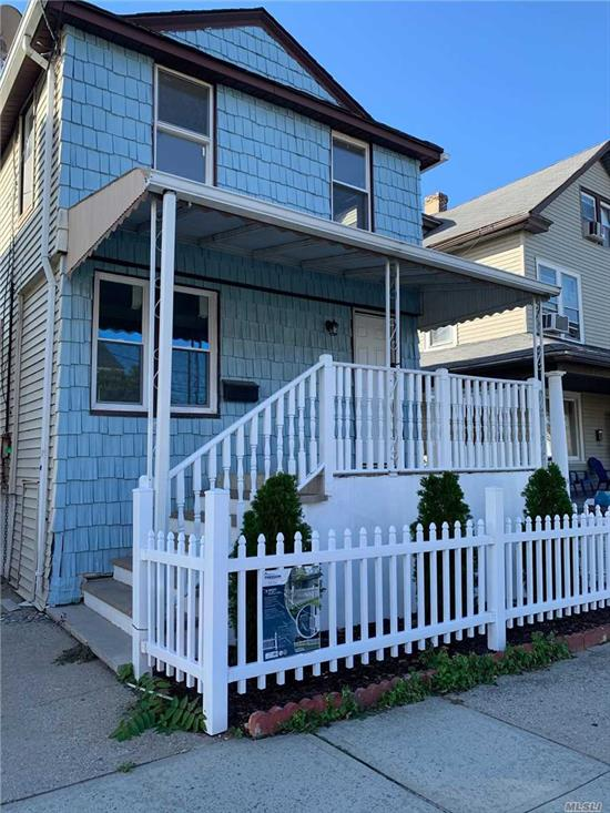 Beautifully Renovated 3 bedroom 2 and a half bath home, Nice Yard space, private driveway, New kitchen, New Bathrooms, hardwood flooring throughout, tiled front porch.