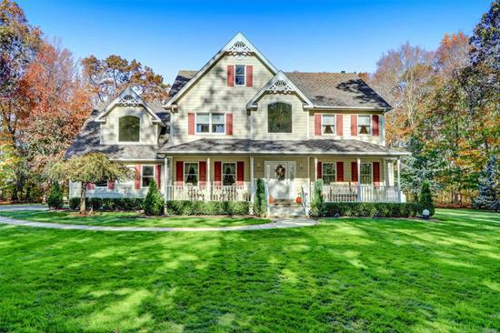 Welcome to this stunning post modern victorian situated on 5 magnificent acres on a private road in Mattituck, surrounded by vineyards, horse farms and close to town beaches. This home has 4 BR, 2.5 baths, dramatic 2-story entry, formal living & dining room, family room w/vaulted ceilings & gas fireplace, EIK, hardwood floors, master suite w/master bath, 2 master closets & a vanity area. Back yard with stunning in-ground pool. New CAC units, generator w/500 gal propane tank & 200amp electric.