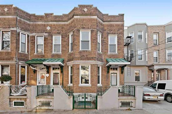 This over-sized all brick 2 family on one of the most desirable blocks of Jersey City Heights can be all yours!! Original hardwood floors throughout with lots of natural light, historic medallion and original moldings give this wonderful home its charm. Sitting on a 25 x 100 lot the first floor has a modern updated kitchen and bathroom. Shared basement with multiple rooms for storage leads out to nice backyard. Close to public transportation for NYC commuters, parks, shops and restaurants. *Virtually Staged and 2nd floor has kitchen and bathroom renderings- see broker notes