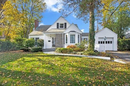 Roslyn. Flower Hill Colonial. Charming Living Room With Fireplace And Custom Built-Ins. Port Train Station Sticker.
