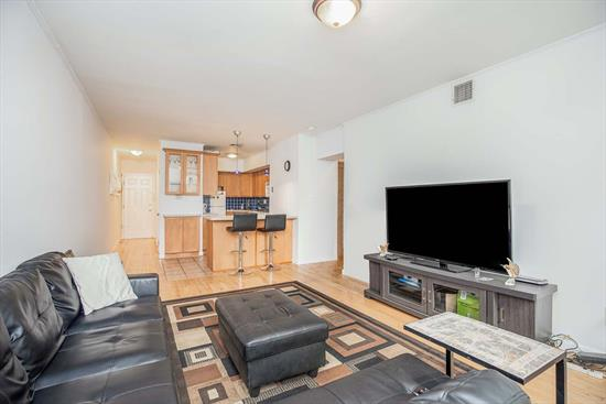 Modern spacious 2-bed/1-bath Condo in beautiful maintained Rivergate Building on desirable Blvd East. Conveniently located on the 2nd floor, the home features Central AC & Heat, hardwood floors throughout, Galley kitchen with breakfast bar & extra cabinets, spacious living room and ample closet space. Large bathroom with linen closet and double vanity. Laundry on site, security cameras, common outdoor space and secure storage area.. Low taxes and maintenance. Commuter's Dream with Bus stop to NYC right outside door, panoramic views of NYC and park across the street.