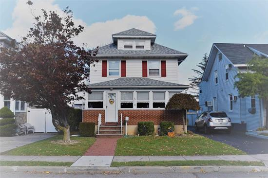 Charming white house on Clinton Ave! Well kept colonial in Lynbrook south. Eat in kitchen, large family room, and formal dining await. Updated roof, windows, gas burner, large backyard with deck, large driveway detached garage.