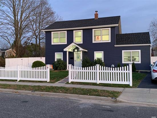 Move right into this completely renovated corner colonial. Features Living Rm, Eik, 2 Bdrms/Office space & Full Bath on 1st Fl. Master Bdrm with HUGE walk in closet, 2 additional nice size Bdrms & Full Bath on 2nd Floor with access to pull down Attic. Roof & Siding done this year! Spacious backyard with storage shed (shed as is/gift). Convenient to Schools, Shops, Parkways & House of Worship. * Taxes will go down more - waiting on new Property Tax Bill!!