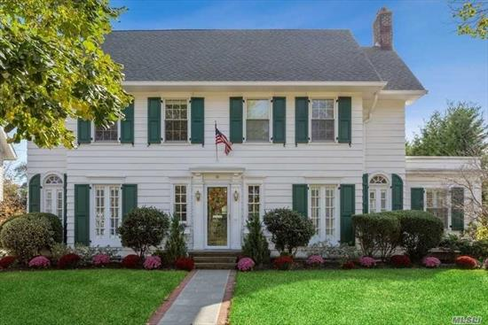 This beautiful Colonial situated mid-block in the heart of the Central Section of town exudes charm & sophistication. Features impressive fyr, sun drenched family rm w/fp, fdr, new mud & pwdr rms, den & brand new gourmet kitchen w/sizable island, ss appliances & quartz tops. Second boasts Mbr suite w/gorgeous bath & 3 addl brs w/new hall bath. Third floor gym & storage space. Bsmt rec rm w/bar & full bath, private grounds w/new synthetic turf yard. Proximate to town, shopping, restaurants & LIRR