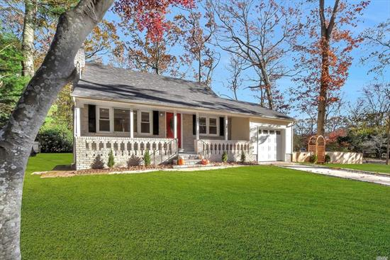 Fabulous Cape Cod with private beach! All New!!! Chefs kitchen with Quartz counters and custom cabinetry & ss appliances! All new oak floors throughout, new roof & siding, new 200 amp electric, new oil burner (4 yrs) , 2 New Baths, New windows, new deck & fenced yard with lots of privacy! PICTURE PERFECT CAPE! just move right in. Shoreham Wading River Schools.