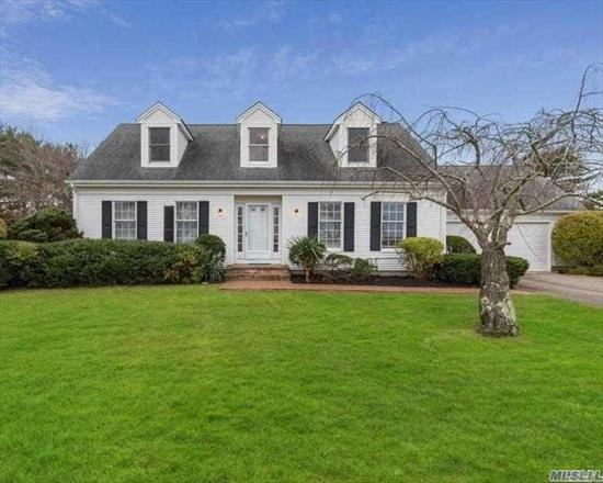 Large Country Cape on builders acre lot with 4 bedrooms ( one on the first floor) and 2.5 baths. Kitchen with dining area, formal living room and formal family room with fireplace. Full basement.Patio with Summer Kitchen in rear, basement temperature controlled wine cellar.