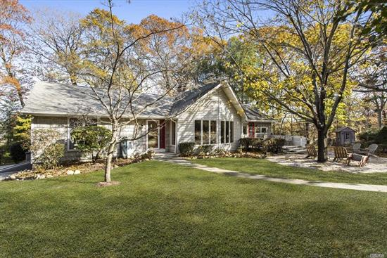 Central NoFo locale, close enough to your fav wineries, beaches & restaurants! High on a private wooded shy 2 acres, this warm welcoming ranch is loaded w/charm. Master en/suite w/oversized shower. Bright & airy Kitchen drenched w/sunlight, double-sided wood fireplace anchors great room. Spacious outdoor deck opens up entertaining w/hot tub & pond views, a perfect backdrop for entertaining w/a home wine tasting! Detached (4) car garage adds flexibility to this thoughtfully appointed property.