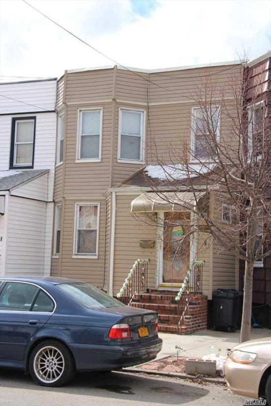 Conveniently located to the M train (Metropolitan Ave Stop) this 2 family home features 6 rooms over 5, full basement parking for 2 cars and an extra large yard with above-ground pool. (Lot zize is 20 x 140) Modern Kitchen w/ stainless steel appliances! Must see!