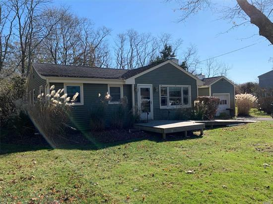 Fantastic 1-story house for sale in spectacular Southold corner. 2 beds 2 baths, separate living room, eat in kitchen with stainless steel appliances and dishwasher, partial basement, one car garage and handicapped access entrance, fireplace, 16988 sq.ft lot
