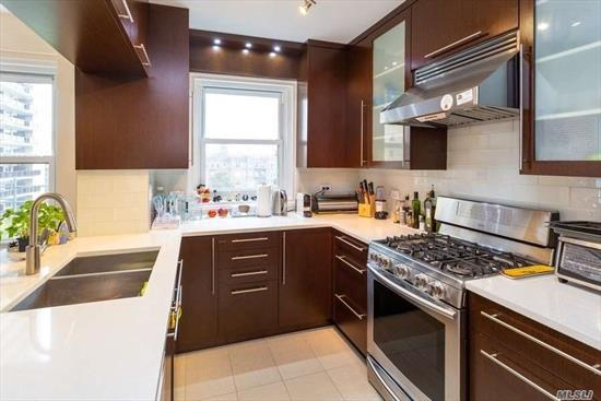 Nicely renovated 2 bedroom 1 1/2 bath apartment in the heart of Forest Hills. Fire proof building features 24 hour doorman, gym, storage, new windows, elevators, pointing and lobby. Immediate parking available. Close to express transportation, and Austin St shops.