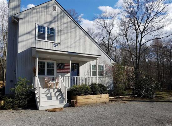 Rent & Execute Lease By Feb 1st - Enjoy the month of Sept. On Us! Stylish, Light & Art Drenched Designers' Fully Renovated 4 Bedroom, 3 Ba. 3.5 Mi. From Southampton Village. Set On Wooded Cul-De-Sac In Private Community, Designed For Entertaining & Accented W/ Original Paintings & Textiles by Artist. Open Floor Plan, Large Eat-In-Kitchen, 2 Fireplaces, Great Rm W/Dining Area, Den W/Bar, Convertible Guest Rm Living Area & Outdoor Areas, Central to All Hamptons Hamlets and Great NYC Commute