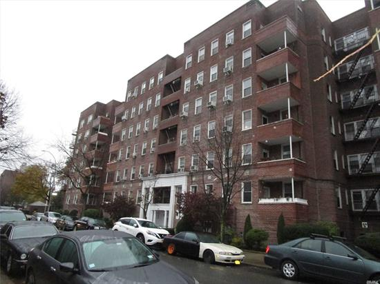 Large renovated 2BR co-op w/new kitchen w/mostly new appliances, bathroom, brand new floors throughout. Sliding doors on all closets, new electric panel, living room with dropped ceiling, remote controlled color soffit lighting and pivoting recessed lighting, new radiator covers, new crown molding and base molding, MBR w/custom built-in closet, smaller BR w/lge closet. Pvt courtyard, close to fire station, shopping, restaurants, E/F express trains, Q23/Q60 buses & LIRR.