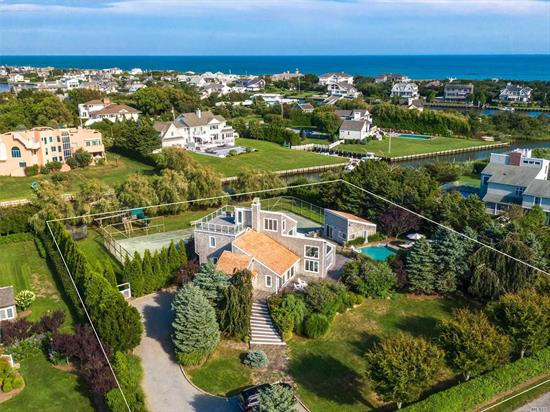 This one acre parcel in S Quogue offers so much! Dock, Pool, hot tub AND Tennis. A generous, sun filled Contemporary home on a quiet cul de sac with pool house with dedicated BBQ station; it speaks of Summer fun all day long. Newly remodeled it is a must see for those appreciating value in South Quogue. Lush landscape with ornamental beach grasses and flowering trees enhanced by its SW facing wrap around deck. Summer is just around the corner!