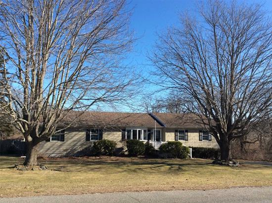 Beautifully updated ranch home in the heart of Jamesport. A great getaway for the summer months, close to Bay & Sound Beaches and all the North Fork has to offer. Home features 4 Br's, 2.5 baths, open floor plan with LR/DR/EIK, enclosed porch, back deck and beautiful Mountain lake in-ground pool.