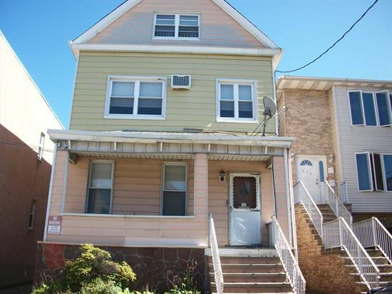 Two family home with 4/4/3 rooms..parking garage (24ftx24ft) for 2 cars and 3 outside parking spaces on a 31x114 lot. Separate heat and hot water. Roof approx. 7 years old. Replacement windows in both apartments. Bayonne is under a tax re- evaluation 2019.