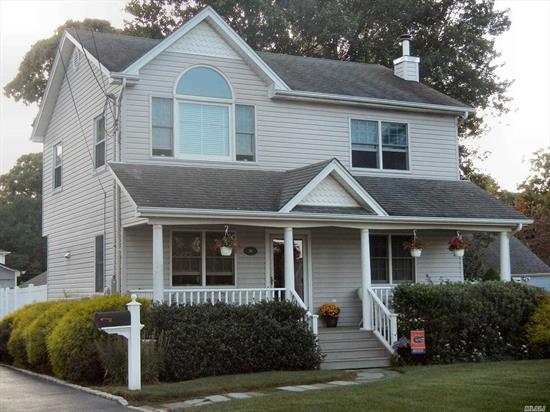 Very nice 3 Bedroom, 1.5 bath colonial offers rocking chair front porch, country EIK w/stove, refrigerator, dishwasher, recessed lights, ceramic tiled back splash & under cabinet lighting; half bath/laundry room & LR on 1st floor w/oak floors; Huge 11x24' MBR & 2 add'l BR's on 2nd floor w/plywood under w/w carpet. Andersen windows, 150 amp electric service, 2-zone oil hot water heat, raised panel interior doors; oversized approx 504 sq ft 2 car detached garage & more!