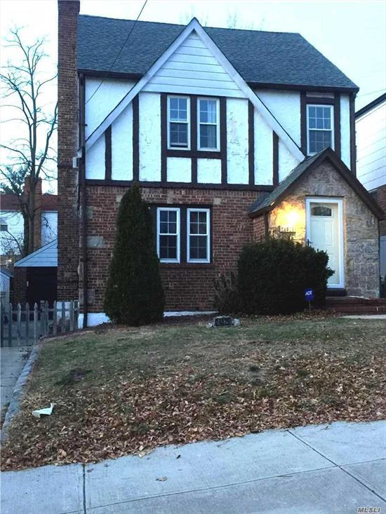 Lovely tudor style colonial with living room, dining room, small eat in kitchen with stainless steel appliances, 3 bedrooms, 1 bath and a partially finished basement with lots of storage space. Includes backyard use and a garage. A small dog under 20 pounds is ok. Cats ok.